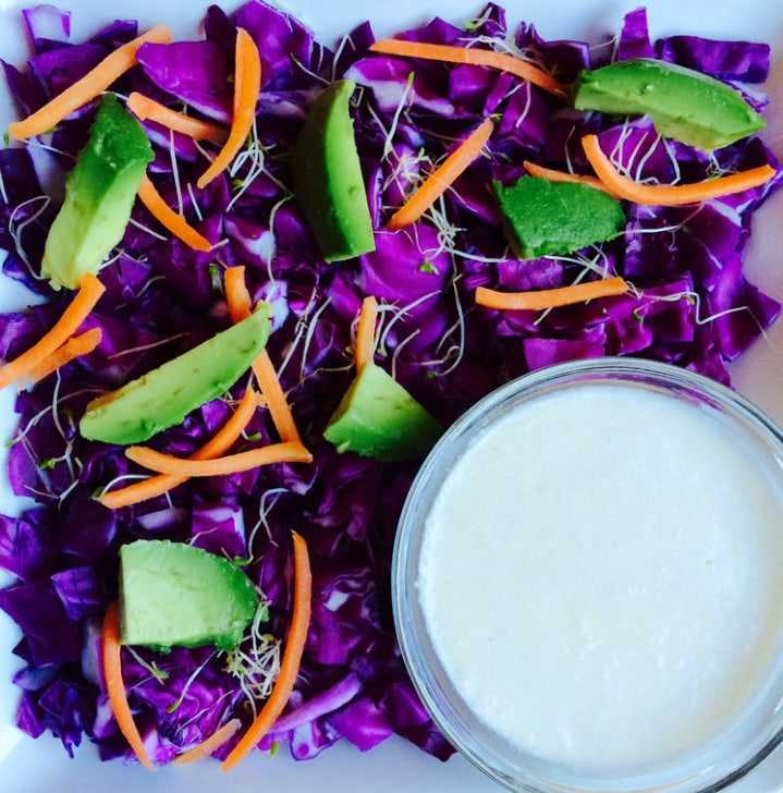 This is a healthy & simple cabbage salad in a delicious, tangy sesame dressing. Vegan, gluten-free, oil-free, paleo, and Whole30 approved!