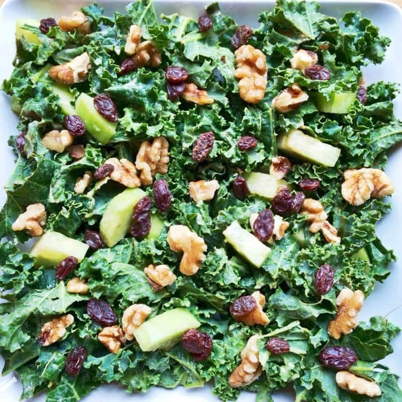 Simple Kale Waldorf Salad (Vegan, Oil-Free, Paleo, Gluten-Free)