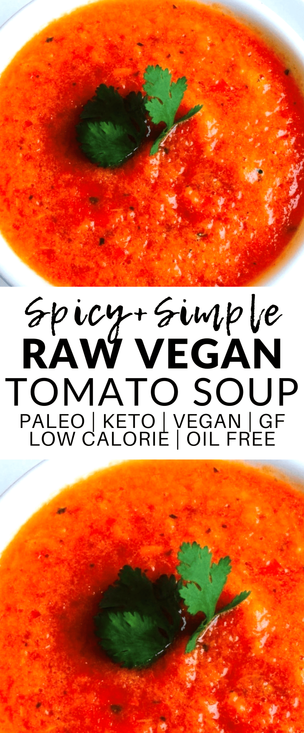 This Spicy Raw Vegan Tomato Soup is totally delicious – the perfect cozy winter meal or side. It's also keto, gluten-free, low-carb, low-fat, oil-free, dairy-free, paleo, and super low-calorie!