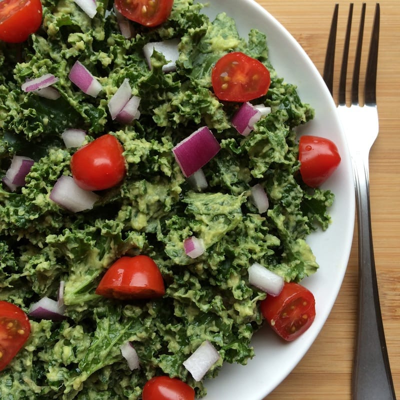 Delicious & Simple Kale Guacamole Salad (Vegan, Gluten-Free, Paleo, Oil-Free)