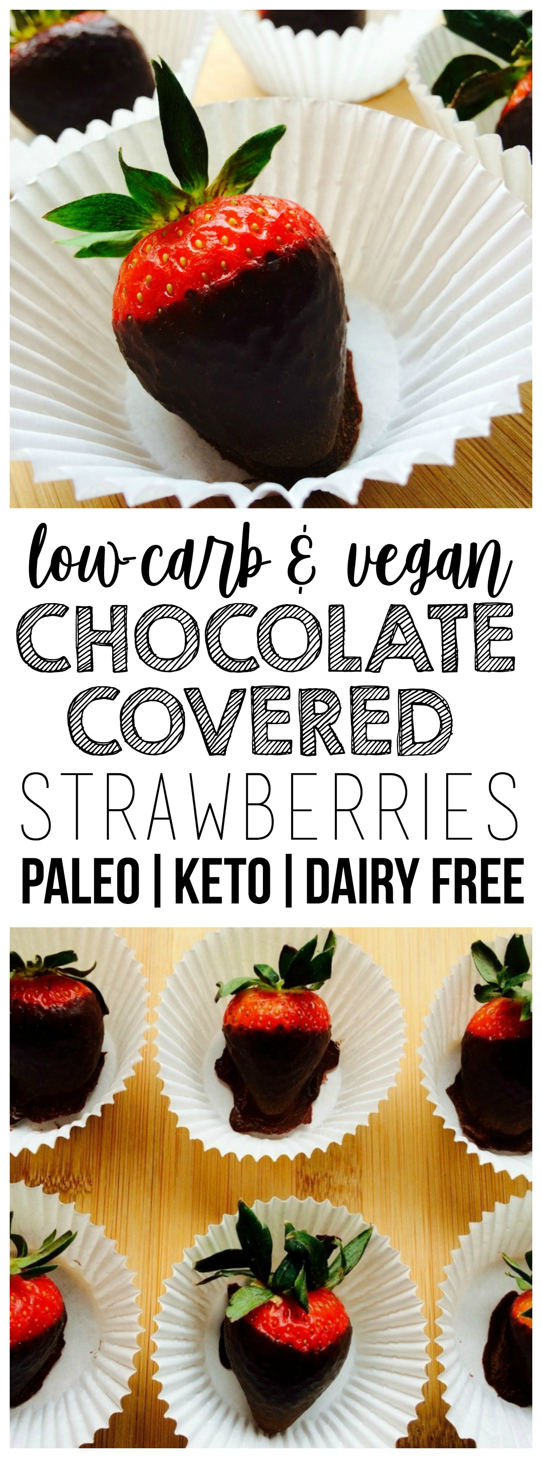 These healthy Keto Vegan Chocolate Covered Strawberries are absolutely divine!! Rich, chocolatey perfection. They are also gluten-free, low-carb, dairy-free, paleo, and contain no added sugar.
