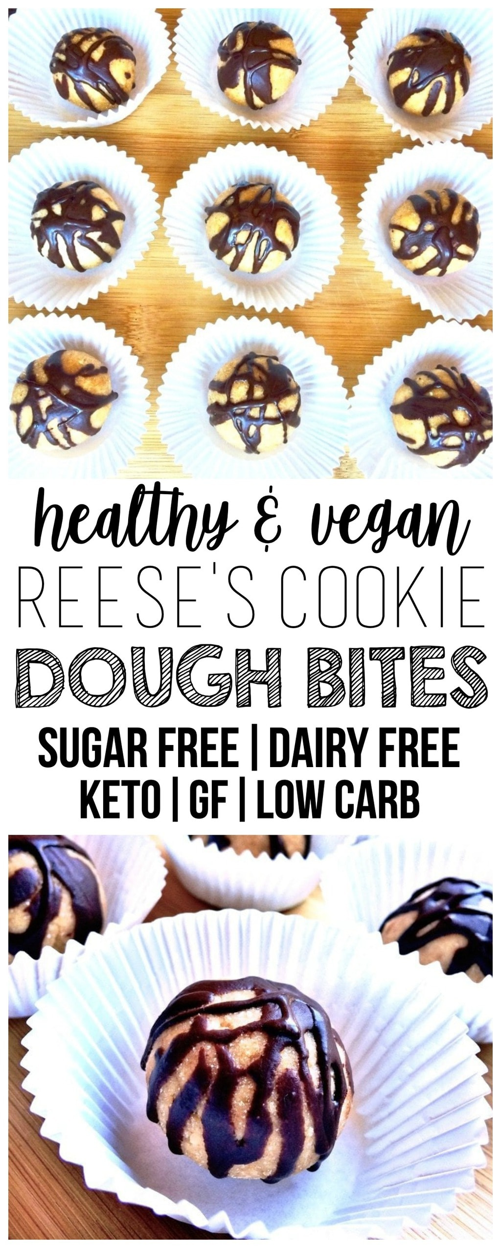 These Keto Reese's Peanut Butter Cookie Dough Bites are the ultimate treat that taste sinfully delicious but are actually super healthy for you! Packed with healthy fats, fiber, and protein, but also low-calorie, low-carb, grain-free, dairy-free, gluten-free & sugar-free.