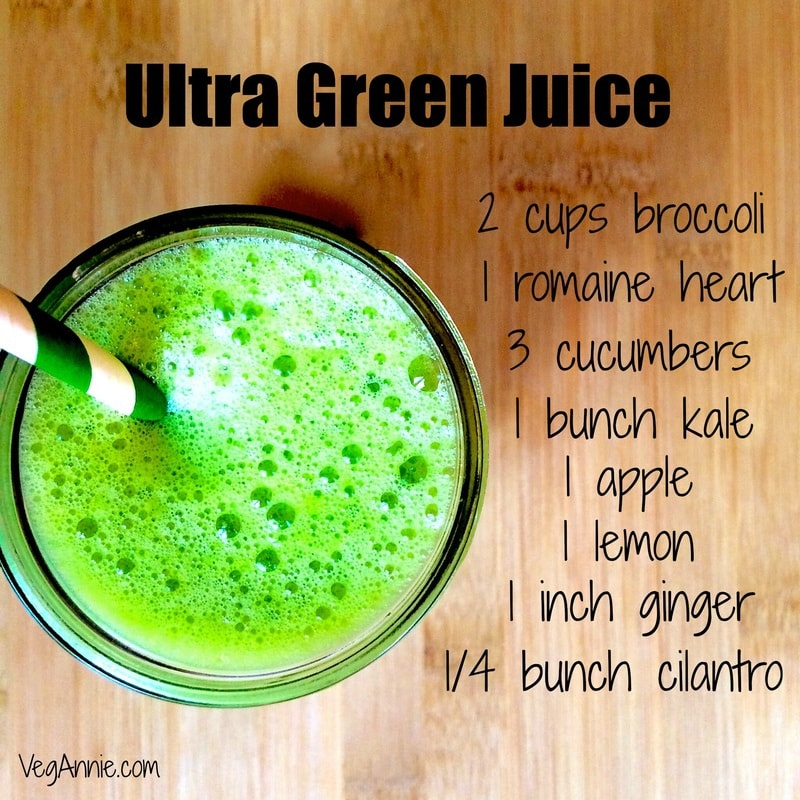 green juice, ultra green juice recipe, kale-cilantro-broccoli-romaine-lemon-apple-ginger-juice