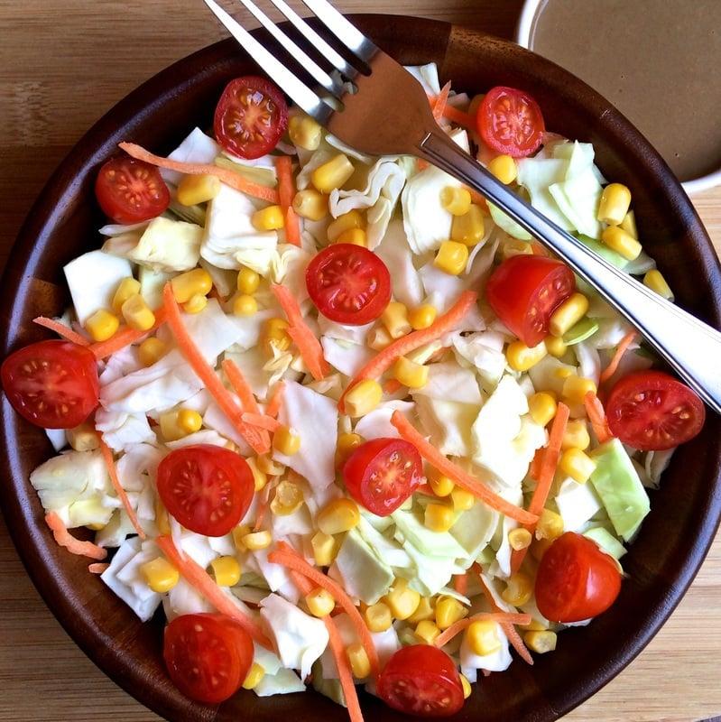 cabbage salad recipe, easy cabbage recipe, no oil salad dressing, no oil salad, oil free salad, oil free cabbage salad, easy raw recipes