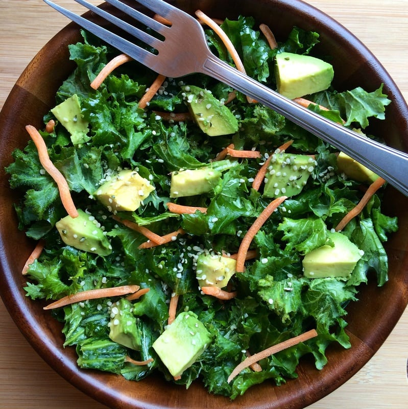 Simple Kale, Carrot & Avocado Salad (Vegan, Gluten-Free, Paleo)