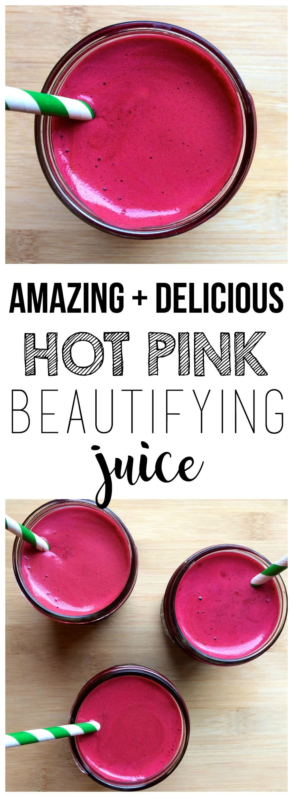 This Hot Pink Beautifying Juice will make you feel and look AMAZING! Loaded with TONS of vitamins, minerals, and antioxidants. You'll be glowing from the inside out!