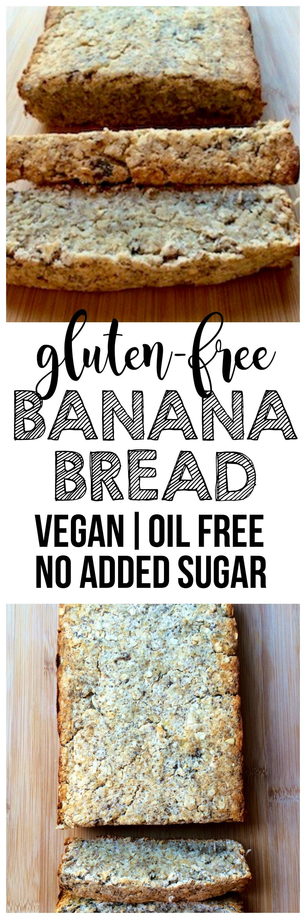 Gluten-Free Vegan Banana Bread! Totally delicious and easy to make. Oil-free, no added sugar, and less than 100 calories per slice.