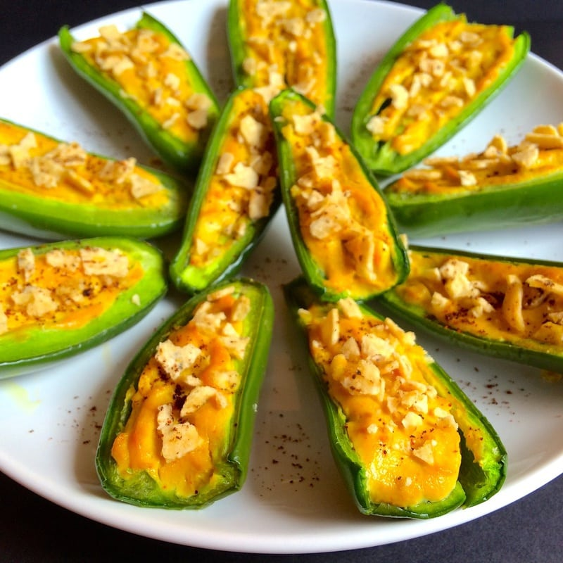 Vegan Jalapeño Poppers that are perfect for an appetizer or game day or Super Bowl party snack! (Keto, Gluten-Free, Oil-Free, Low-Fat, Low-Calorie, Low-Carb)