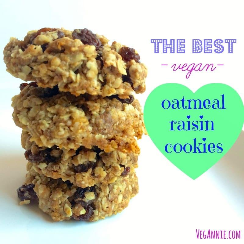 the best vegan oatmeal raisin cookies, vegan oatmeal raisin cookies, healthy oatmeal raising cookies, whole wheat oatmeal raisin cookies, low carb oatmeal raisin cookies, low sugar oatmeal raisin cookies