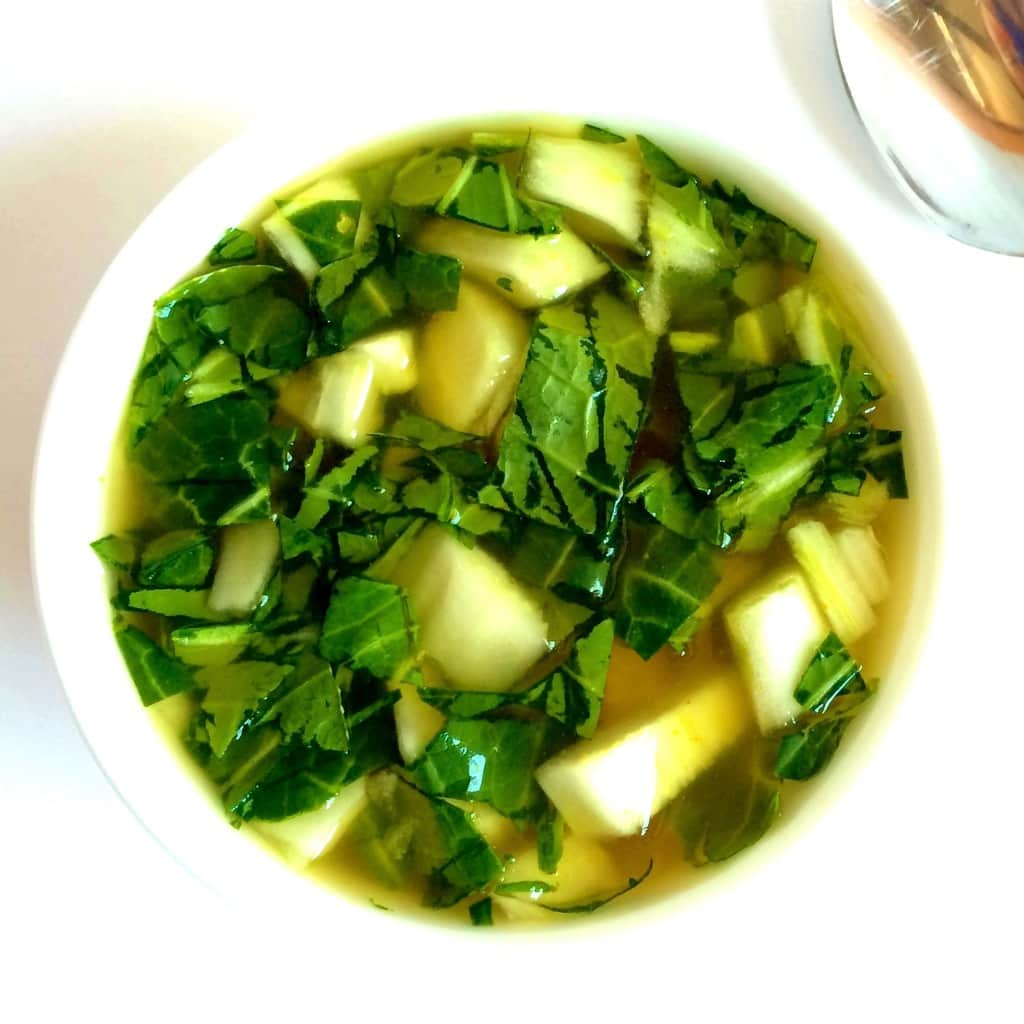 Simple, 5-Ingredient Bok Choy Soup! Ready in 3 minutes. Vegan, gluten-free, dairy-free, keto, low-carb, sugar-free, oil-free & low-fat.