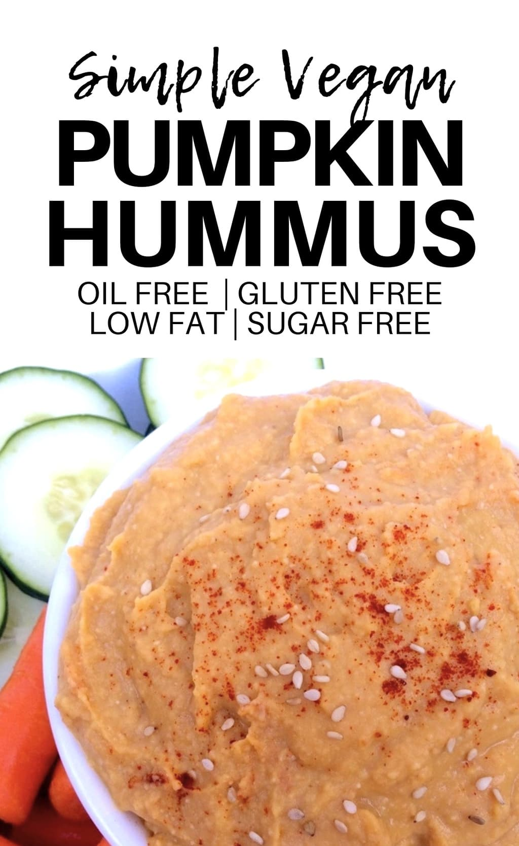 This Vegan Pumpkin Hummus is the perfect Fall twist on classic hummus! It's totally delicious and also gluten-free, oil-free, low-fat, and sugar-free. Super easy to make, too!