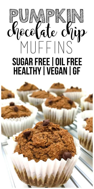 Healthy Pumpkin Chocolate Chip Muffins (Vegan, Gluten-Free, Sugar-Free, Oil-Free)