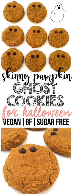 Pumpkin Ghost Cookies! A healthy and festive sweet treat for Halloween. Only 48 calories each! (Sugar-Free, Low-Carb, Vegan, Oil-Free, Low-Calorie)