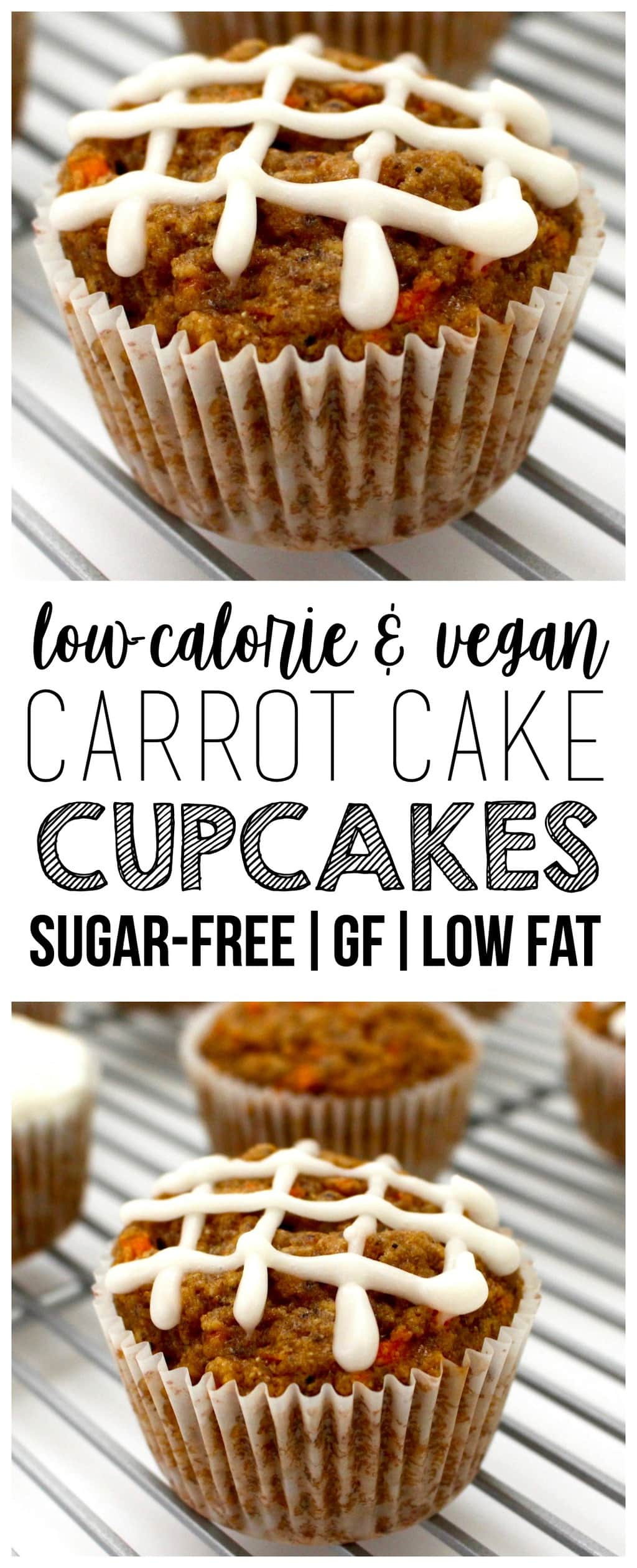 These Vegan Carrot Cake Cupcakes are AMAZING and so easy to make! They're also low-fat, oil-free, sugar-free, gluten-free optional, dairy-free & low-calorie - only 79 calories each!