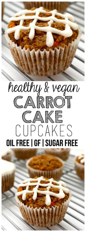 Healthy Carrot Cake Cupcakes (Vegan, Oil-Free, Sugar-Free, Gluten-Free Optional)