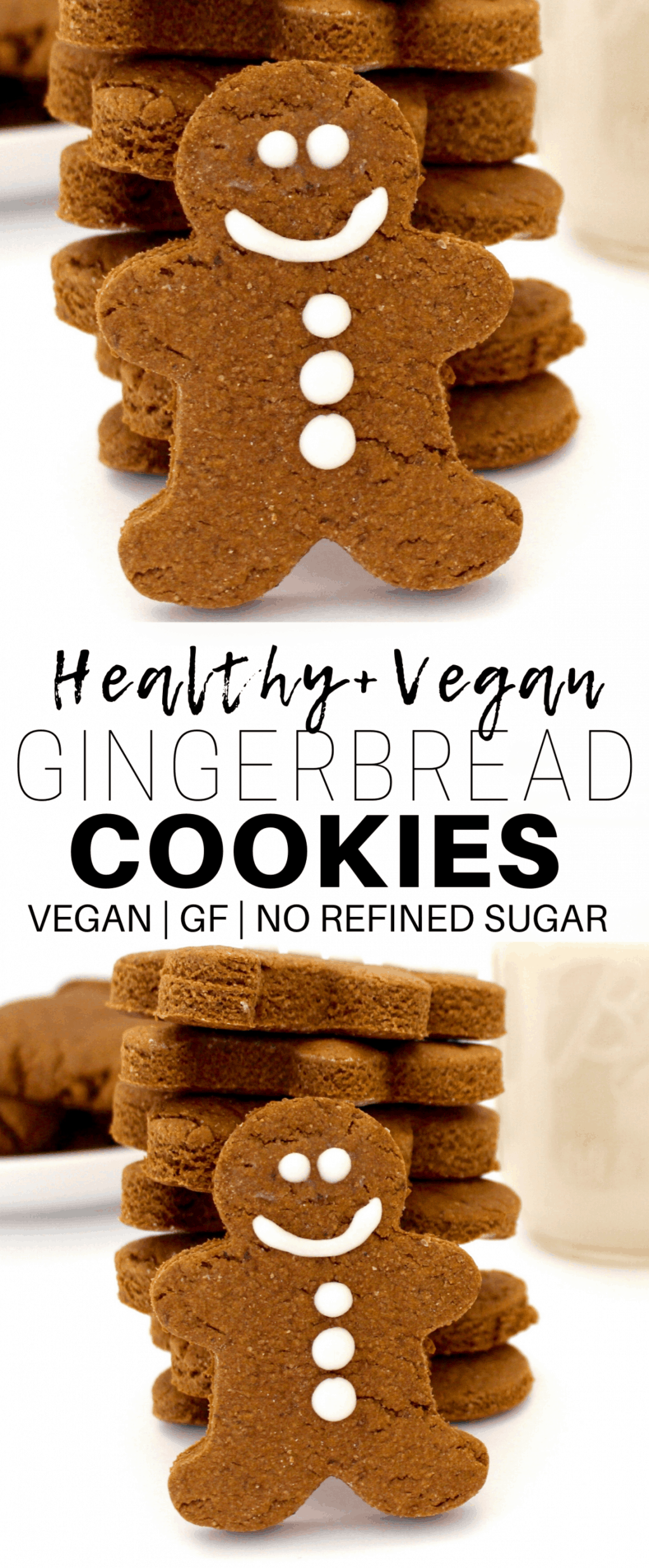These adorable Vegan Gingerbread Cookies are sooo delicious and festive! They are vegan, gluten-free, and contain no refined sugar, making them the perfect little holiday treat!