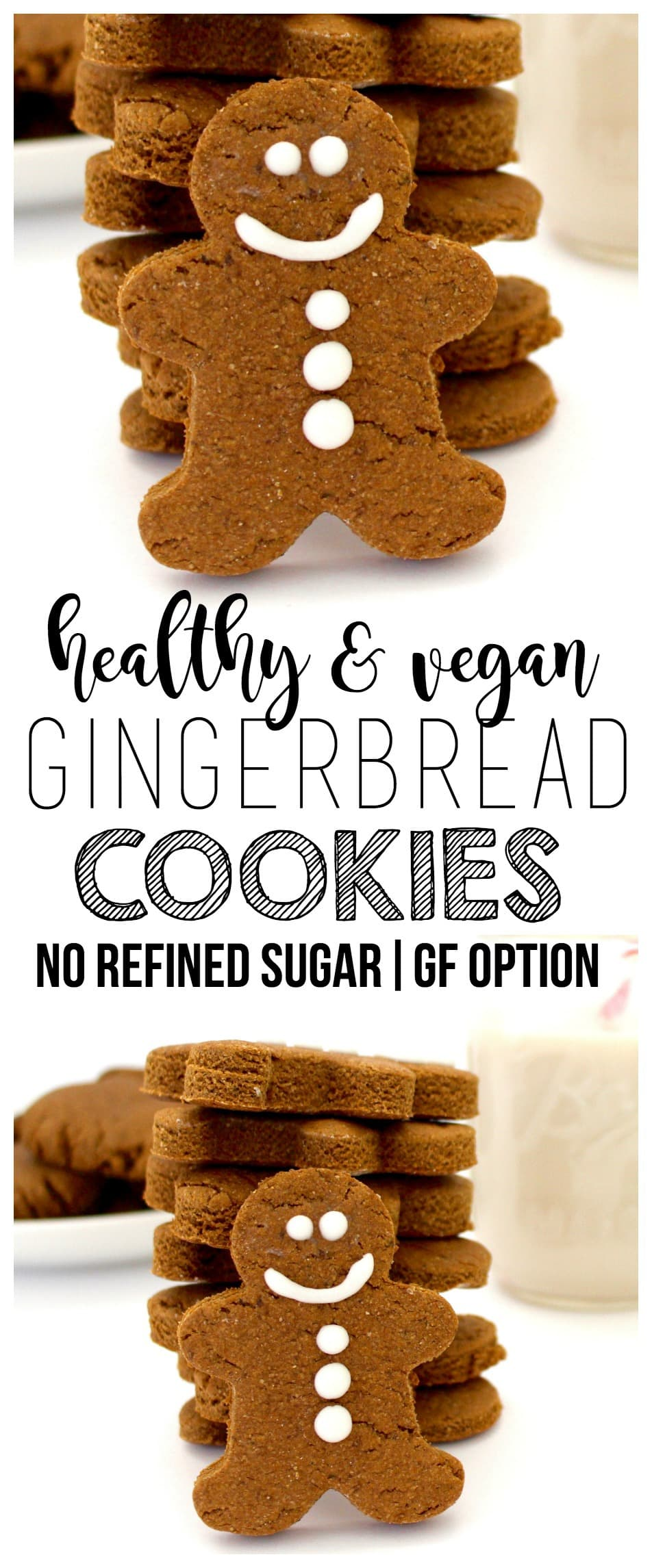 These adorable Gingerbread Cookies are so delicious and cute! They are vegan, gluten-free, and contain no refined sugar, making them the perfect little holiday treat!