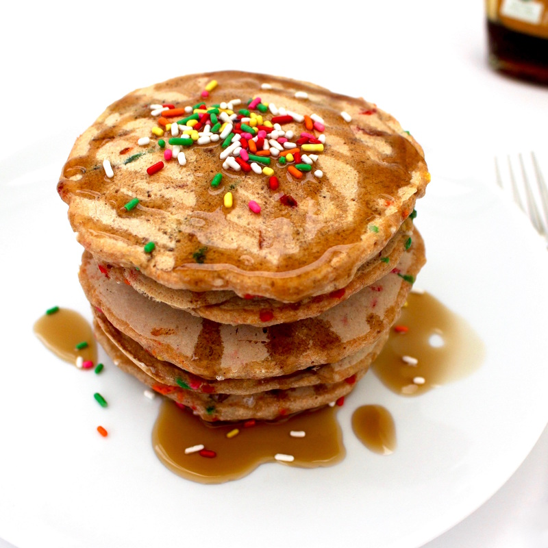 Healthy Vegan Birthday Pancakes (Whole-Wheat, Low-Sugar, Oil-Free, Low-Fat)