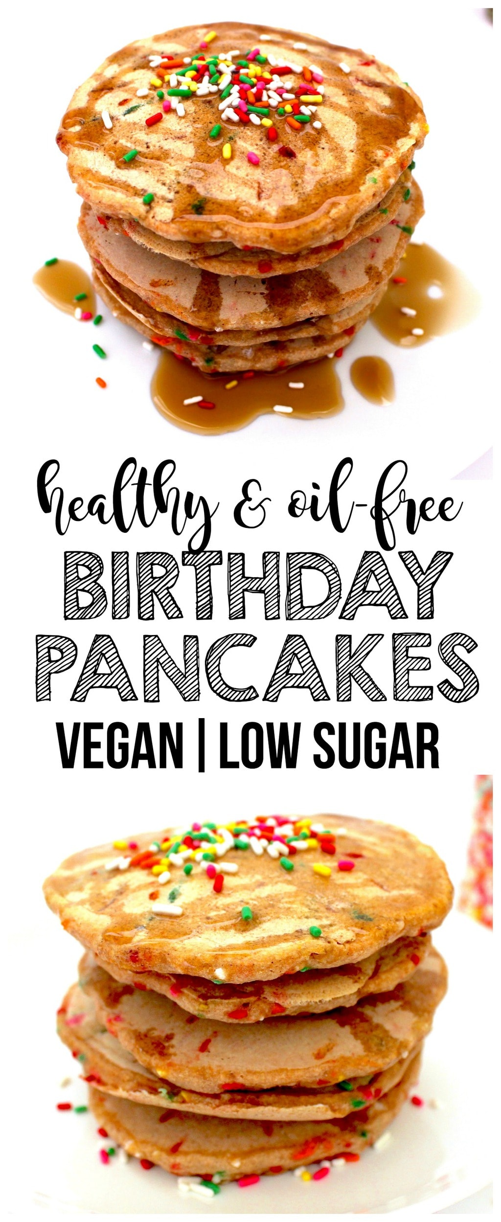 These cute & festive Vegan Birthday Pancakes are the perfect birthday breakfast! They are low-fat, oil-free, dairy-free, low-sugar, whole-wheat, and scrumptiously sweet and satisfying.