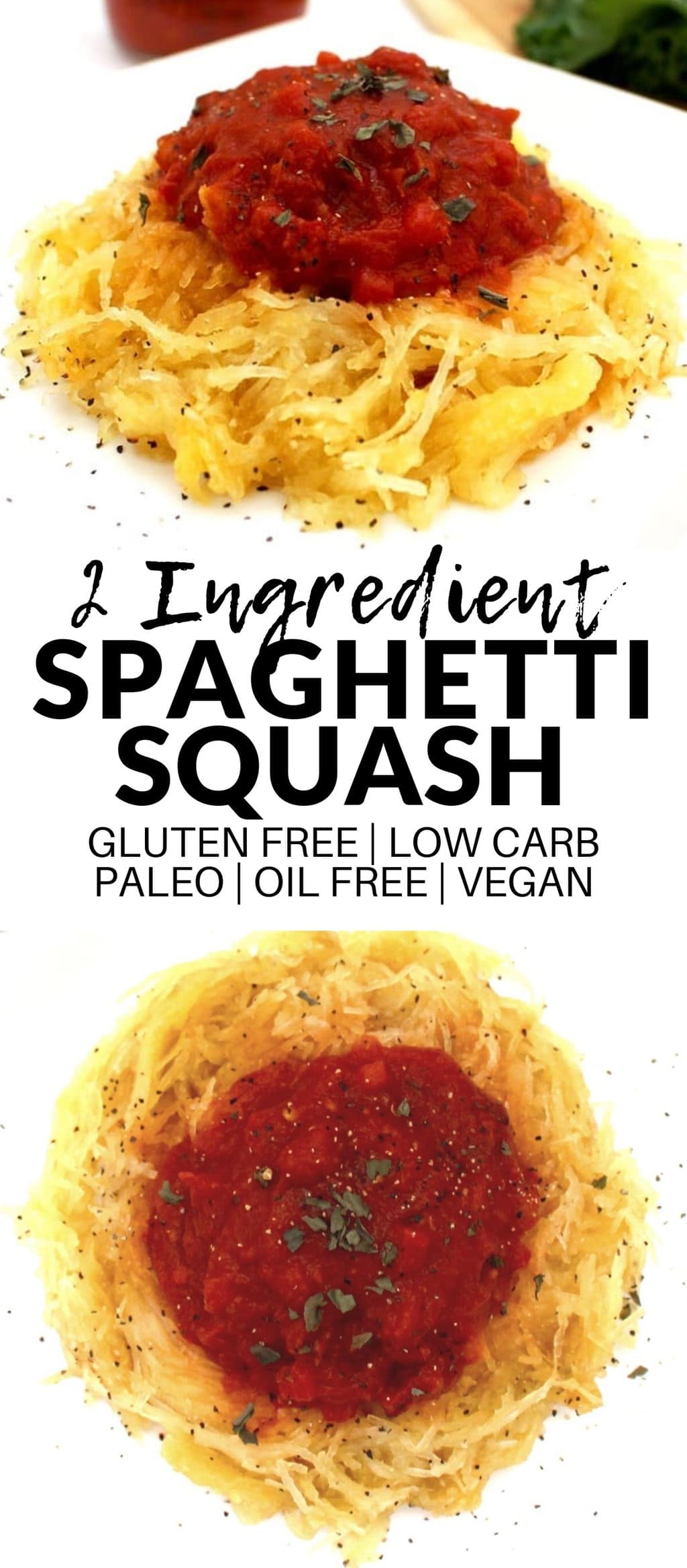 This Simple Spaghetti Squash is the easiest recipe of all time! It only requires two ingredients, and is oh-so-satisfying. Vegan, gluten-free, low-carb, oil-free, paleo, Whole 30 approved, and super low-calorie!