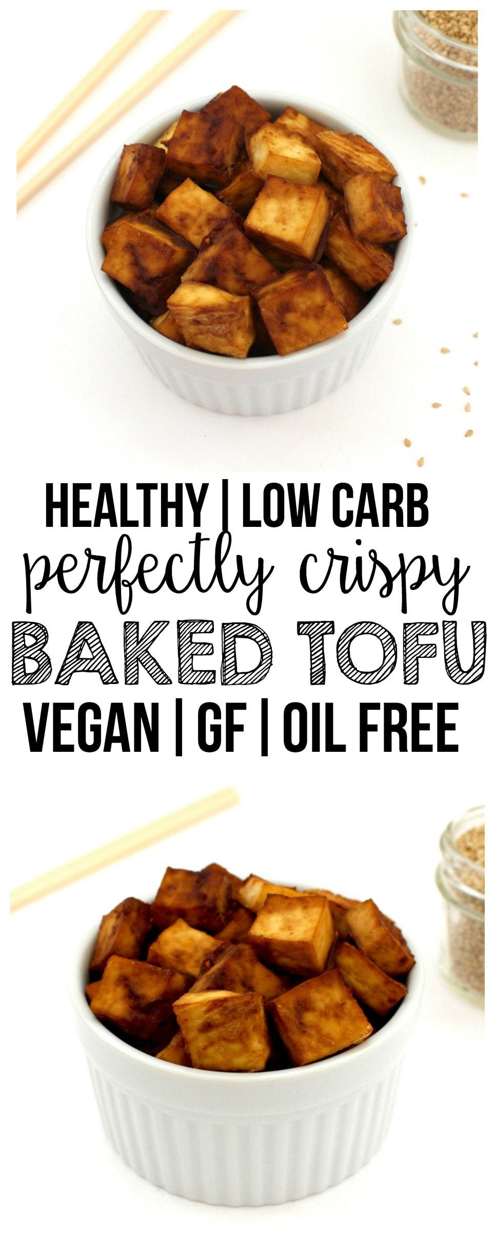 This Perfectly Crispy Baked Tofu is AMAZING! Add it to salads, stir fry, or eat it by itself. So yummy! Keto, vegan, gluten-free, low-carb, dairy-free & oil-free.