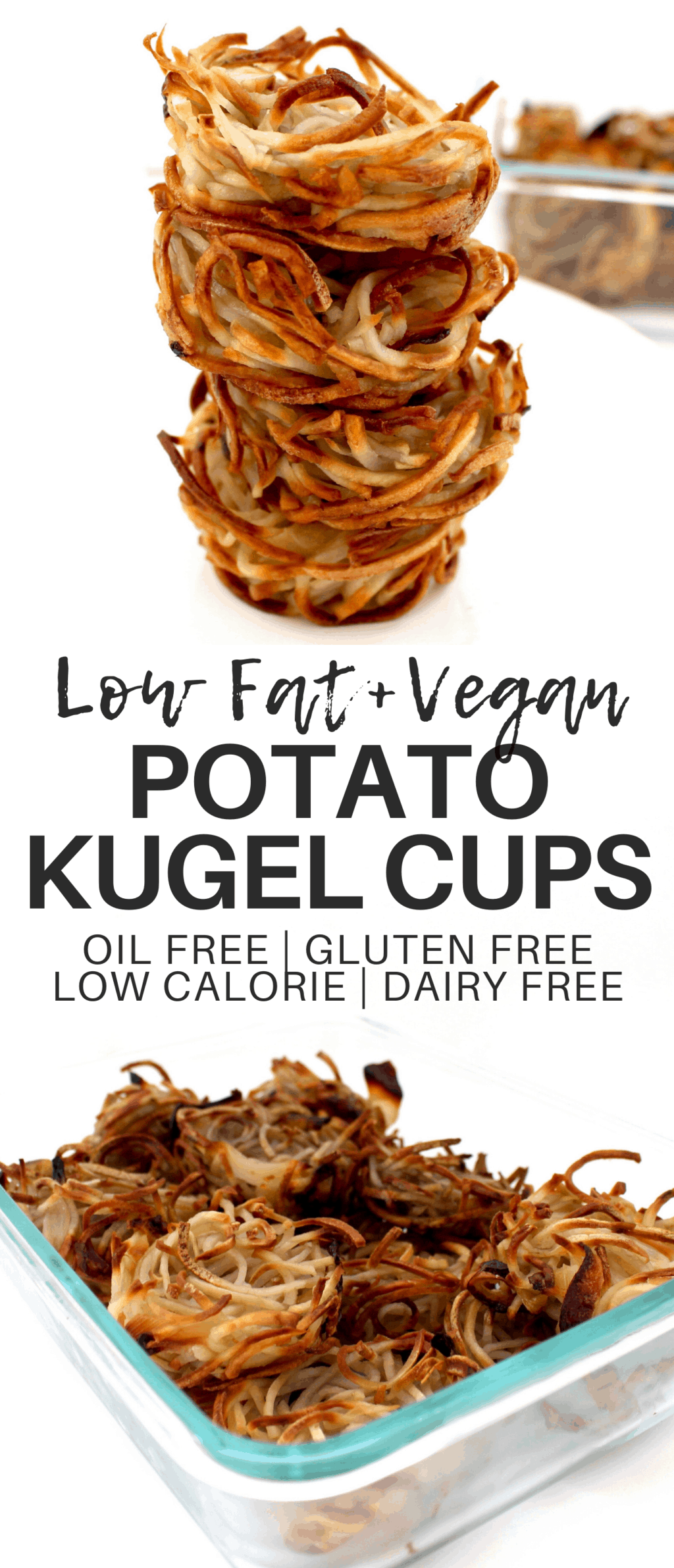 These low-fat & oil-free Vegan Potato Kugel Cups have all the amazing, comforting taste and flavor of traditional potato kugel with a fraction of the calories! Gluten-free & low-calorie - only 37 calories each. Kosher for Passover, too!