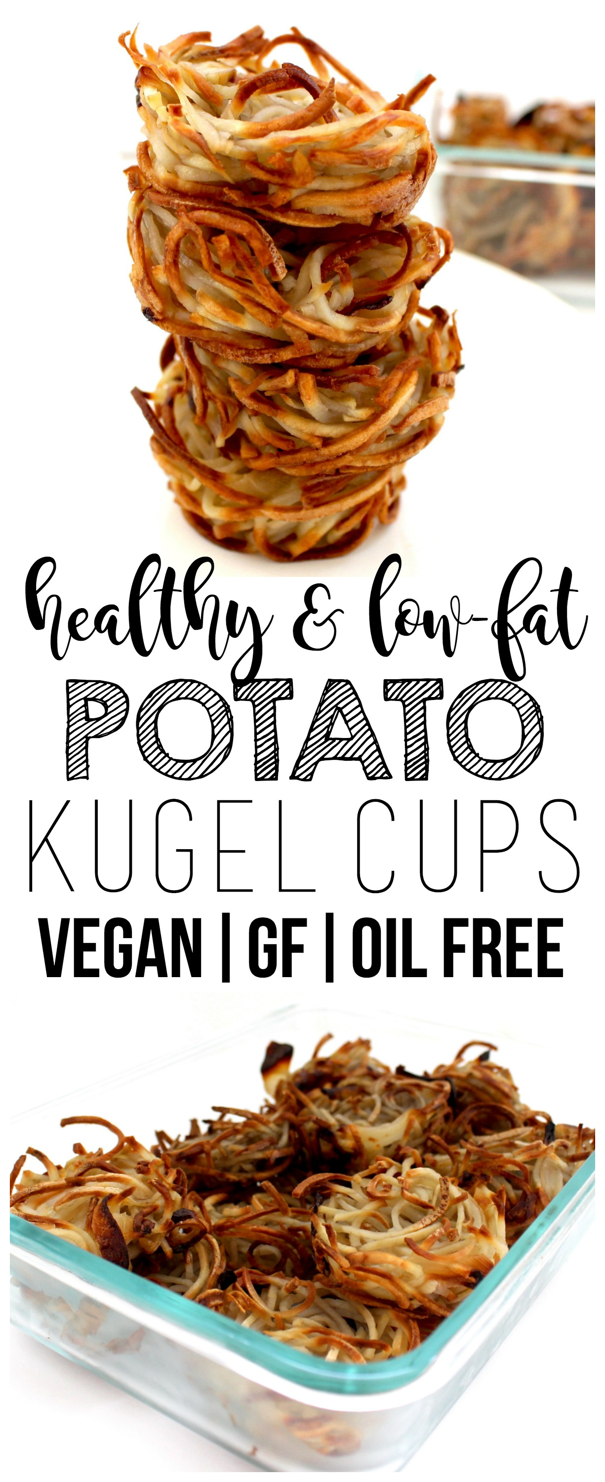 These low-fat & oil-free Vegan Potato Kugel Cups have all the amazing, comforting taste and flavor of traditional potato kugel with a fraction of the calories! Gluten-free & low-calorie, too - only 37 calories each!