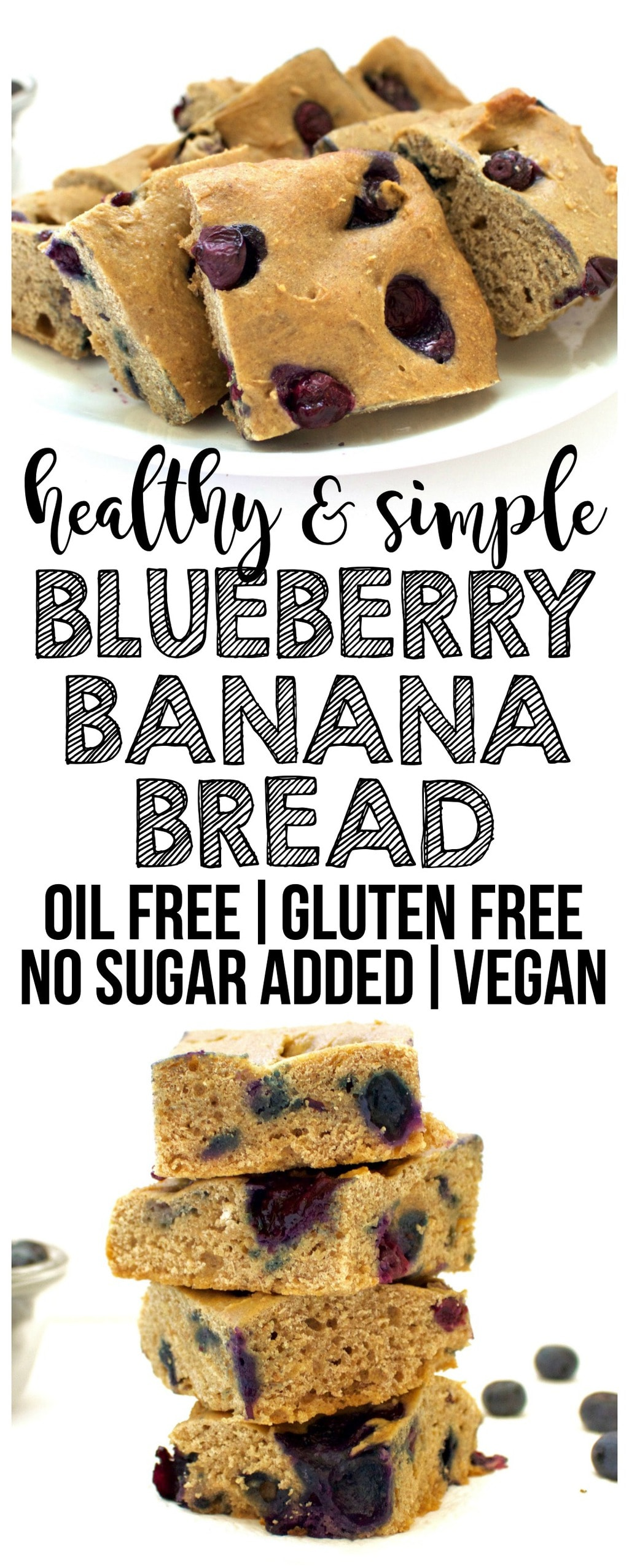 This Vegan Blueberry Banana Bread is SO DELISH! It is oil-free, low-fat, dairy-free, egg-free, gluten-free optional, and contains no added sugar. Super easy to make, too!