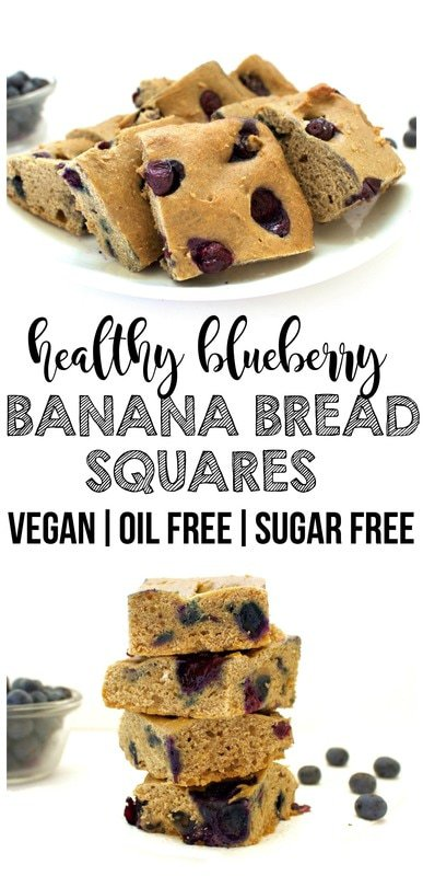 Healthy Blueberry Banana Bread Squares! (Vegan, Oil-Free, Sugar-Free)