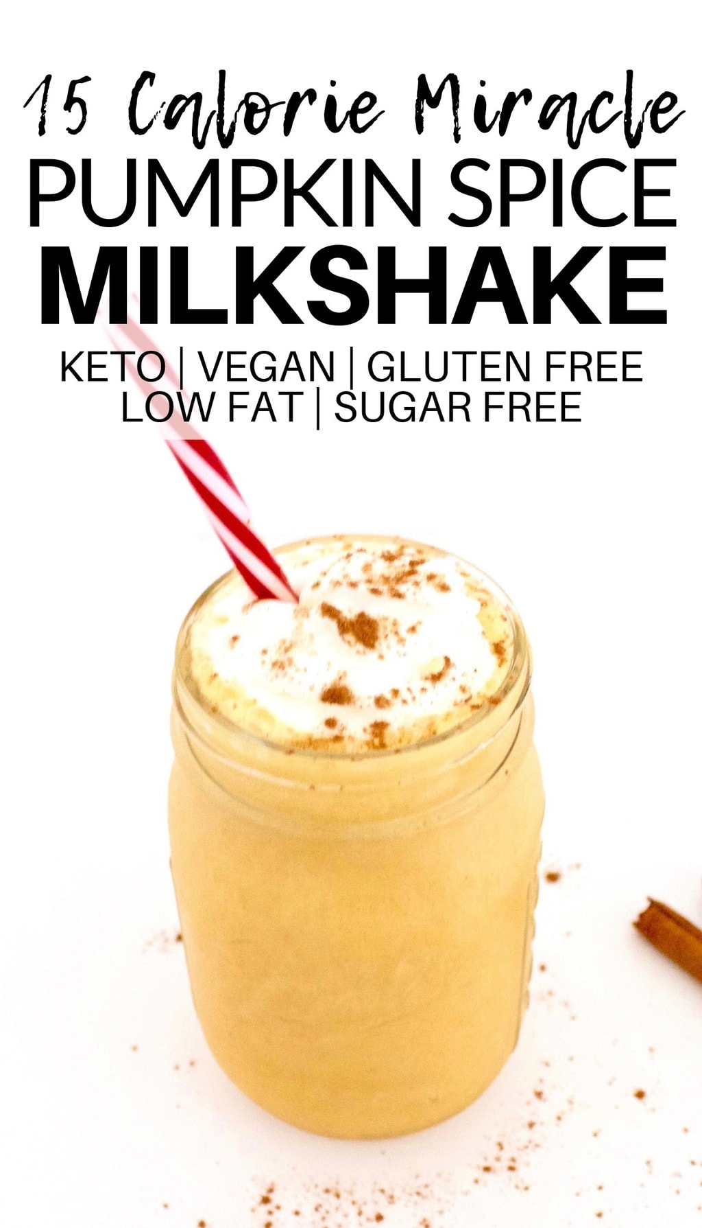 This 15-Calorie Vegan Pumpkin Spice Milkshake is a Fall milkshake miracle!! It is absolutely delicious and also keto, gluten-free, low-fat, low-carb, dairy-free & sugar-free.