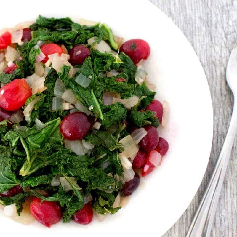 Simple Sautéed Kale & Cranberry Salad (Vegan, Gluten-Free, Oil-Free, Paleo)