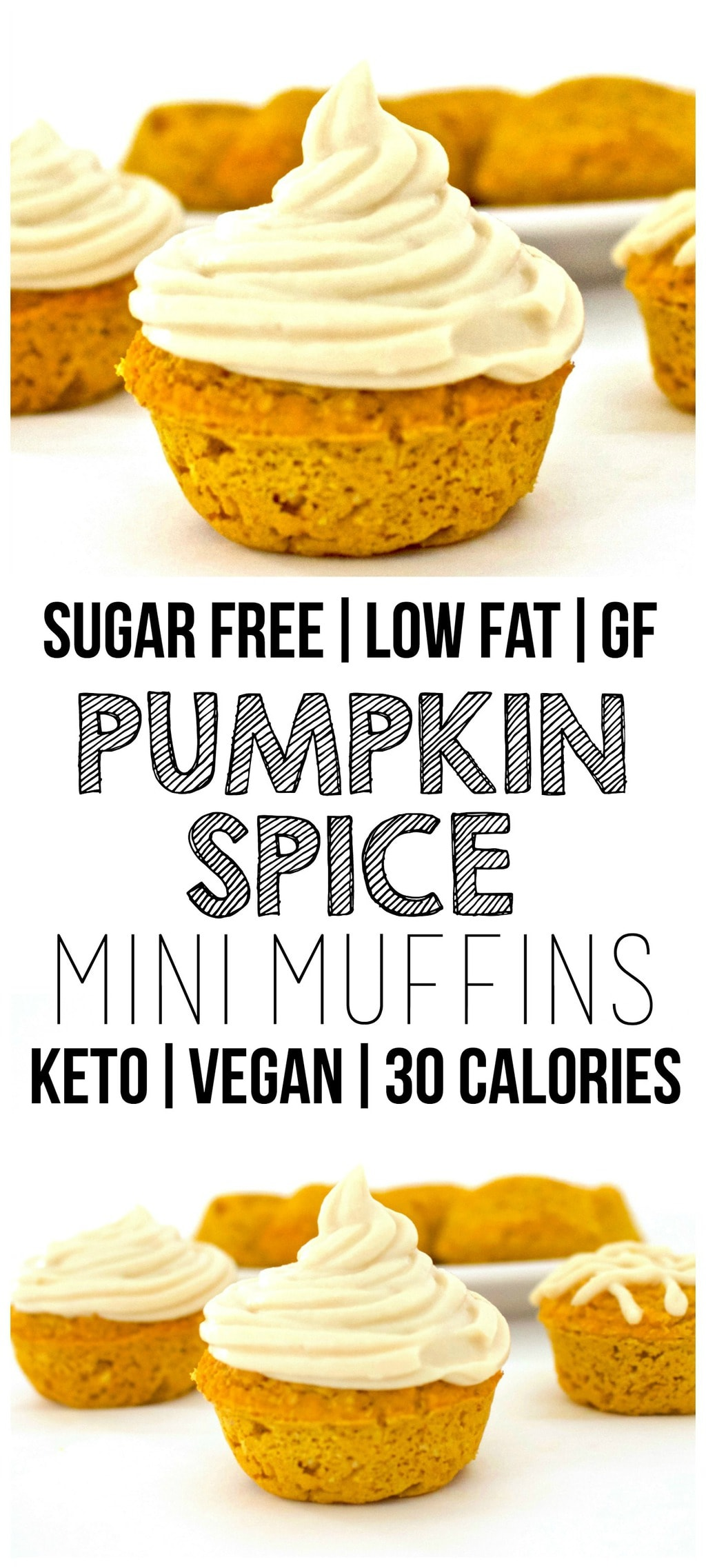 These cute little Pumpkin Spice Mini Muffins are so yummy!! The perfect, bite-sized Fall treat. Super low-calorie and totally healthy, yet they taste absolutely amazing. Vegan, keto, sugar-free, dairy-free, oil-free, gluten-free, low-carb, and low-fat.