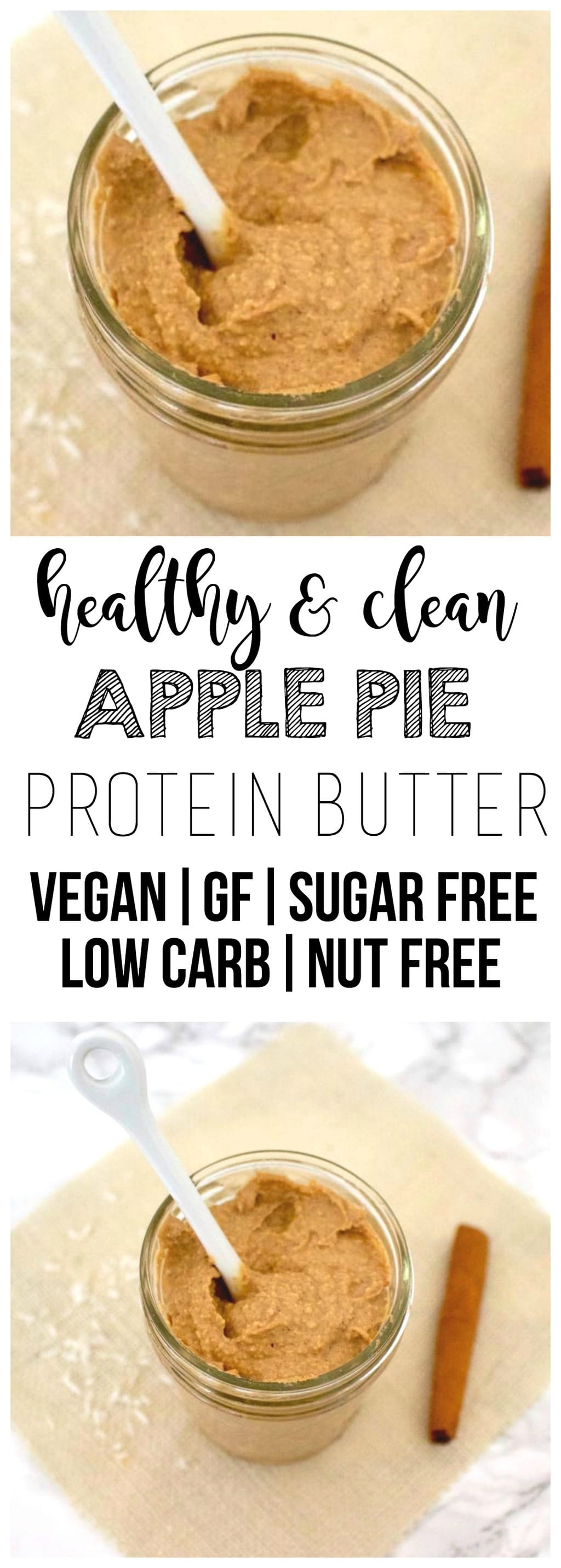 This Apple Pie Protein Butter is so delicious! It tastes like apple pie in a spreadable, peanut-butter-like form. But totally nut-free! Also vegan, gluten-free, sugar-free, low-carb, low-fat & low-calorie - only 66 calories per serving!