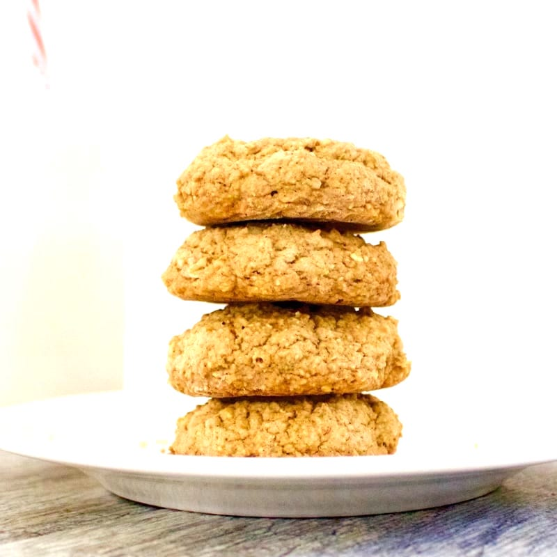 These soft & chewy Vegan Cinnamon Spice Cookies are totally delicious and bursting with perfect cinnamon flavor. They are super healthy and low-calorie, too! Also gluten-free, low-carb, sugar-free, low-fat & oil-free. Only 46 calories each!