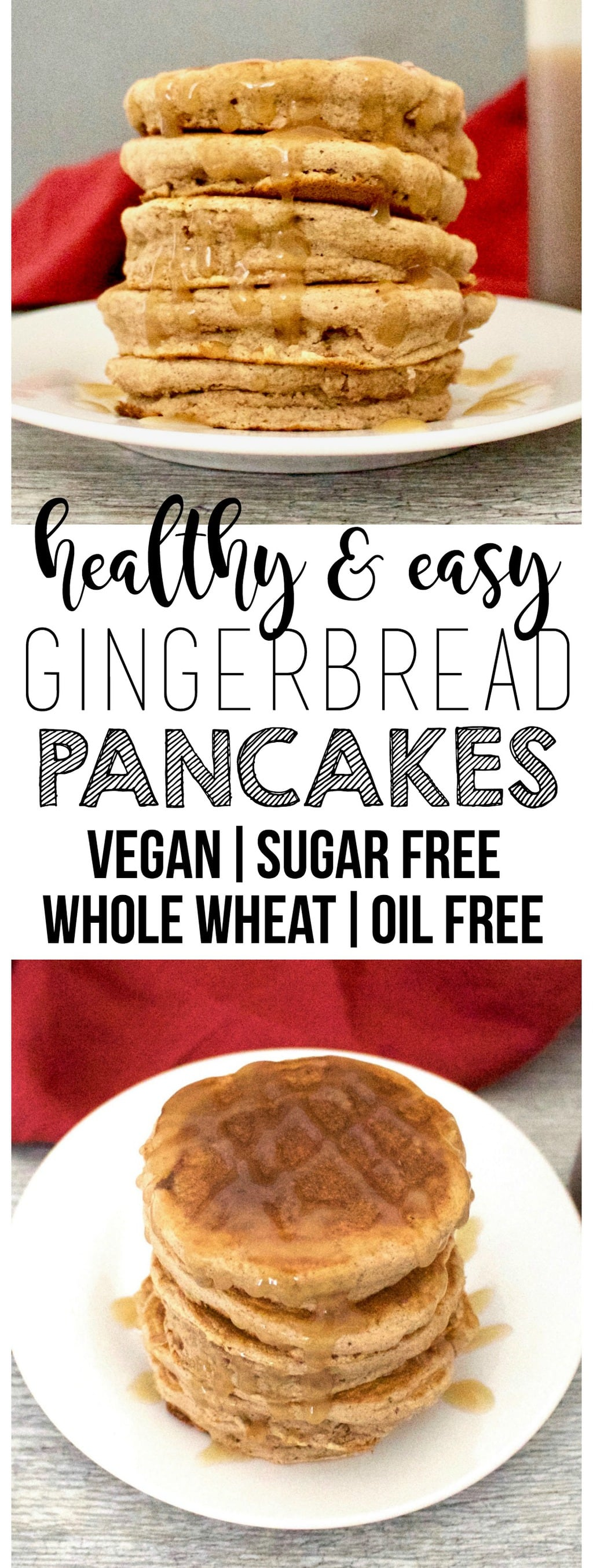 These DELICIOUS Vegan Gingerbread Pancakes are the perfect holiday breakfast! They are super healthy & nutritious - oil-free, sugar-free, and low-calorie too! Only 76 calories each.