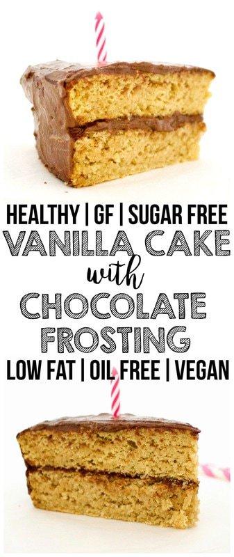 Healthy Vanilla Birthday Cake! (Vegan, Gluten-Free, Low-Fat & Sugar-Free)