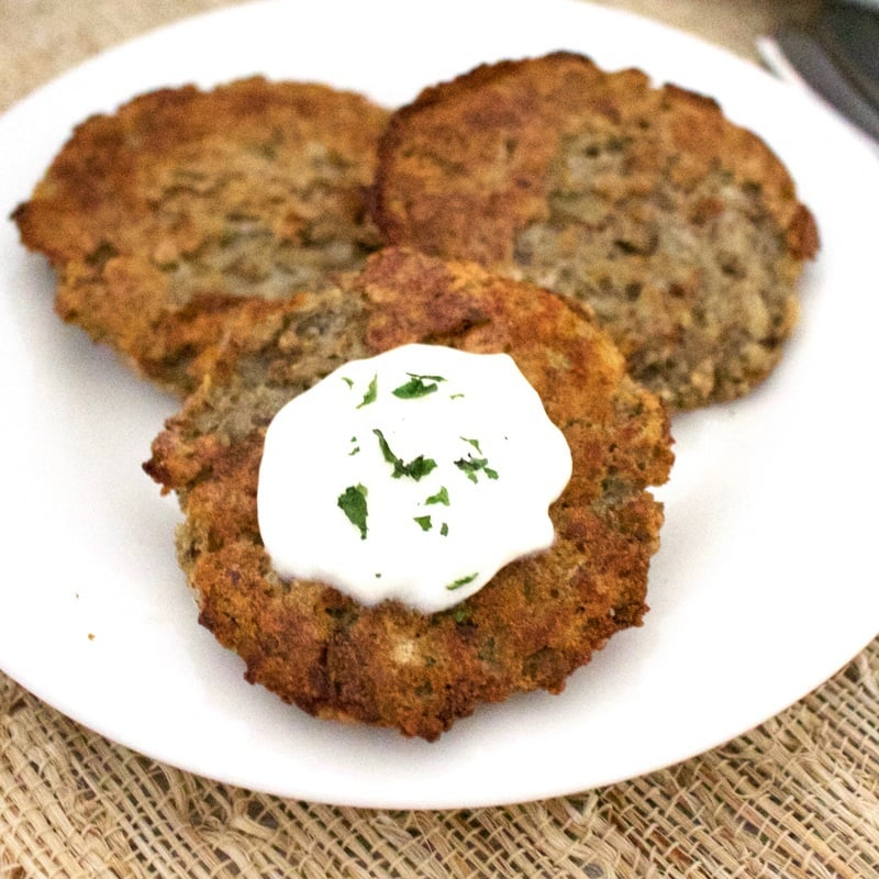These AMAZING Oven-Baked Vegan Latkes are so delicious! They're also gluten-free, oil-free, and low-fat. Only 63 calories each!