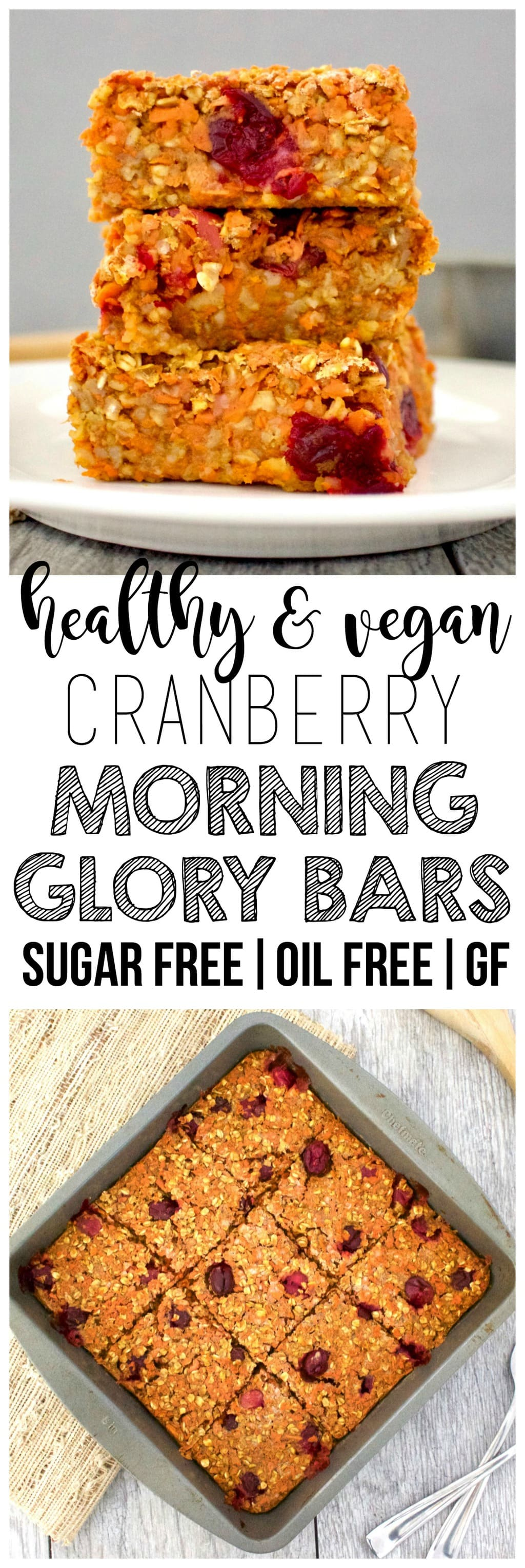 These AMAZING Cranberry Morning Glory Bars are loaded with sweet cinnamon flavor and are super delicious & healthy for you! They are vegan, gluten-free, sugar-free, low-fat, oil-free, and low-calorie - only 79 calories each!