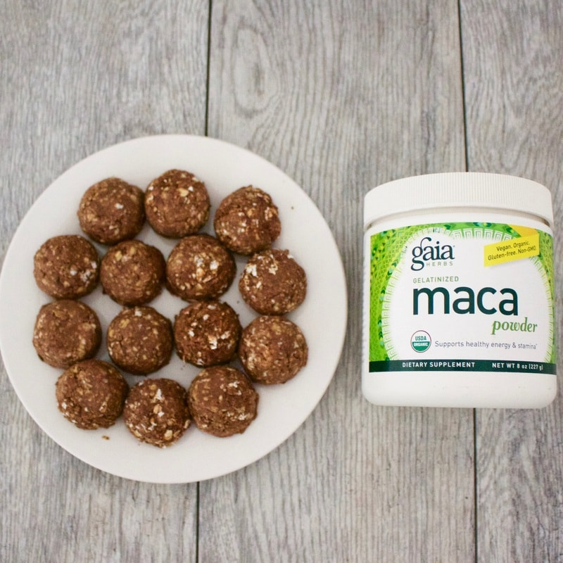 Peanut Butter Chocolate Maca Energy Bites! (Vegan, Gluten-Free, Low-Fat, Sugar-Free)