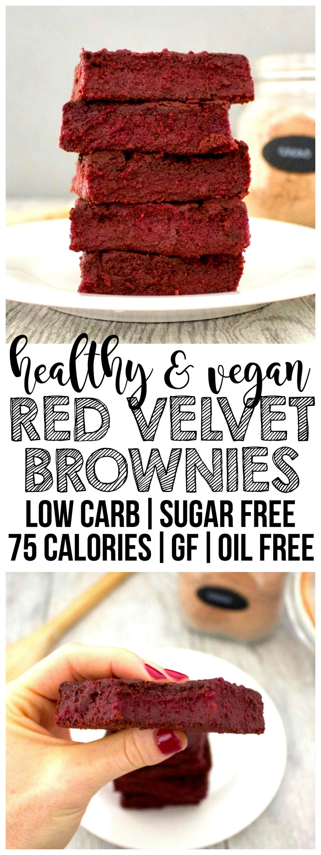 These HEALTHY Vegan Red Velvet Brownies are AMAZING! They are low-carb, sugar-free, gluten-free, low-fat, oil-free, and low-calorie - only 75 calories each!