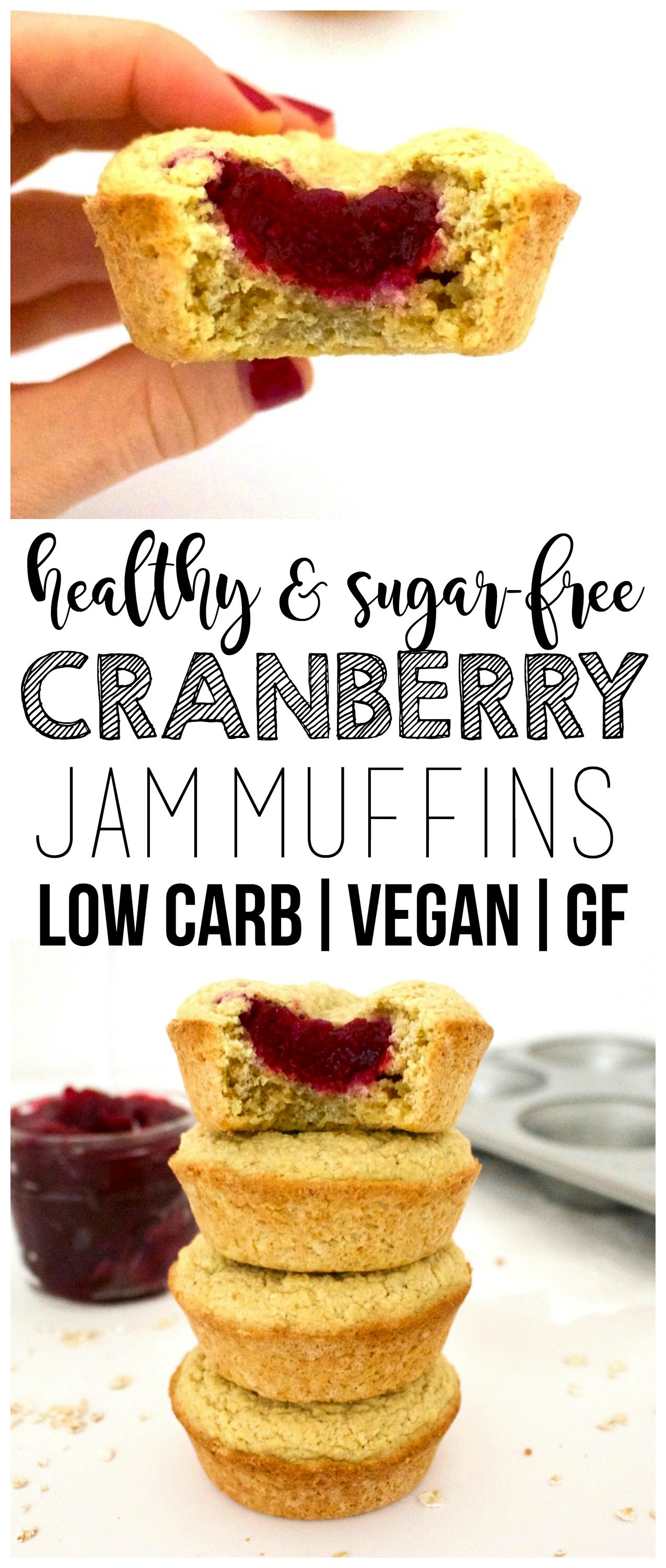 Youwill LOVE these super easy Vegan Cranberry Jam Muffins! They are sooo delicious - gluten-free, low-carb, low-fat, dairy-free, sugar-free, oil-free & low-calorie - only 65 calories each!