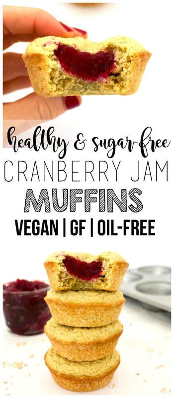 Healthy Cranberry Jam Muffins (Vegan, Gluten-Free, Oil-Free, Sugar-Free)