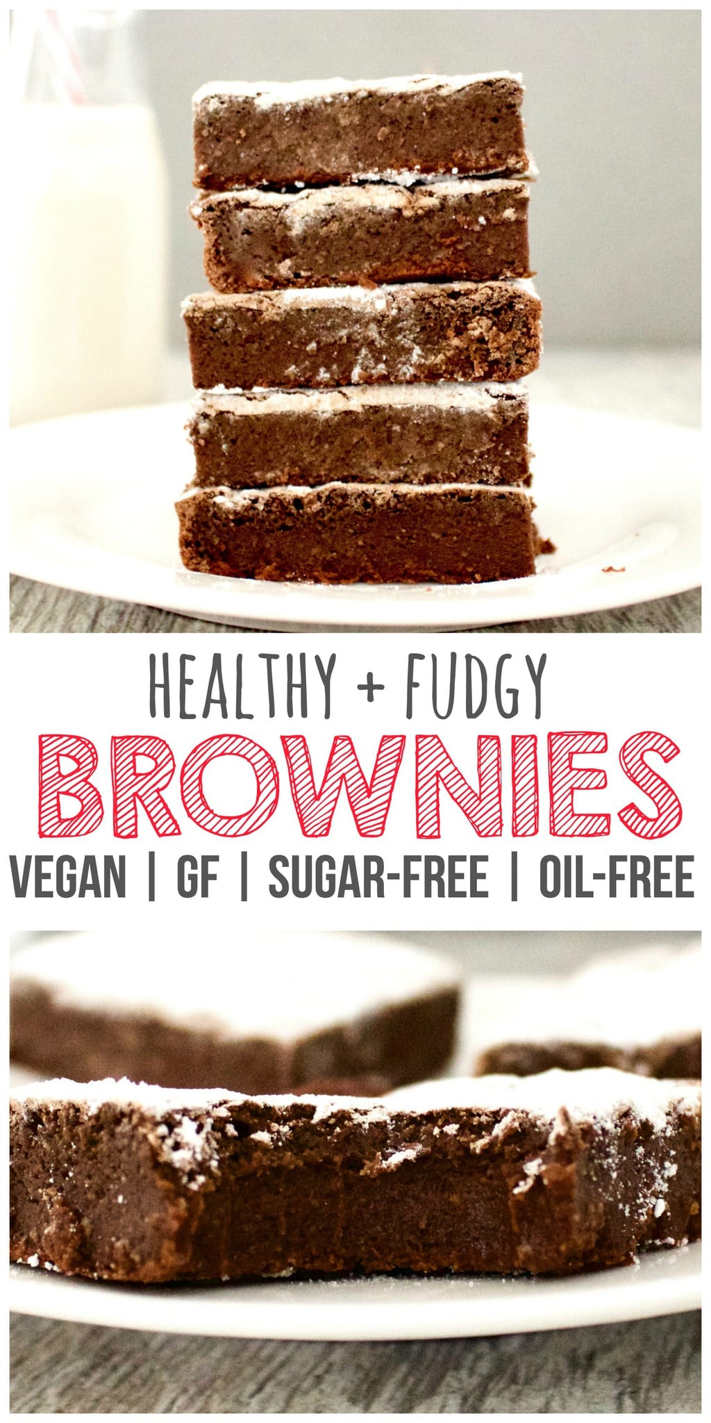 These AMAZING Vegan Fudge Brownies might actually change your life! They are so amazingly delicious but also totally healthy and guilt-free! Gluten-free, dairy-free, oil-free, low-fat, sugar-free, and low-calorie - only 59 calories each!