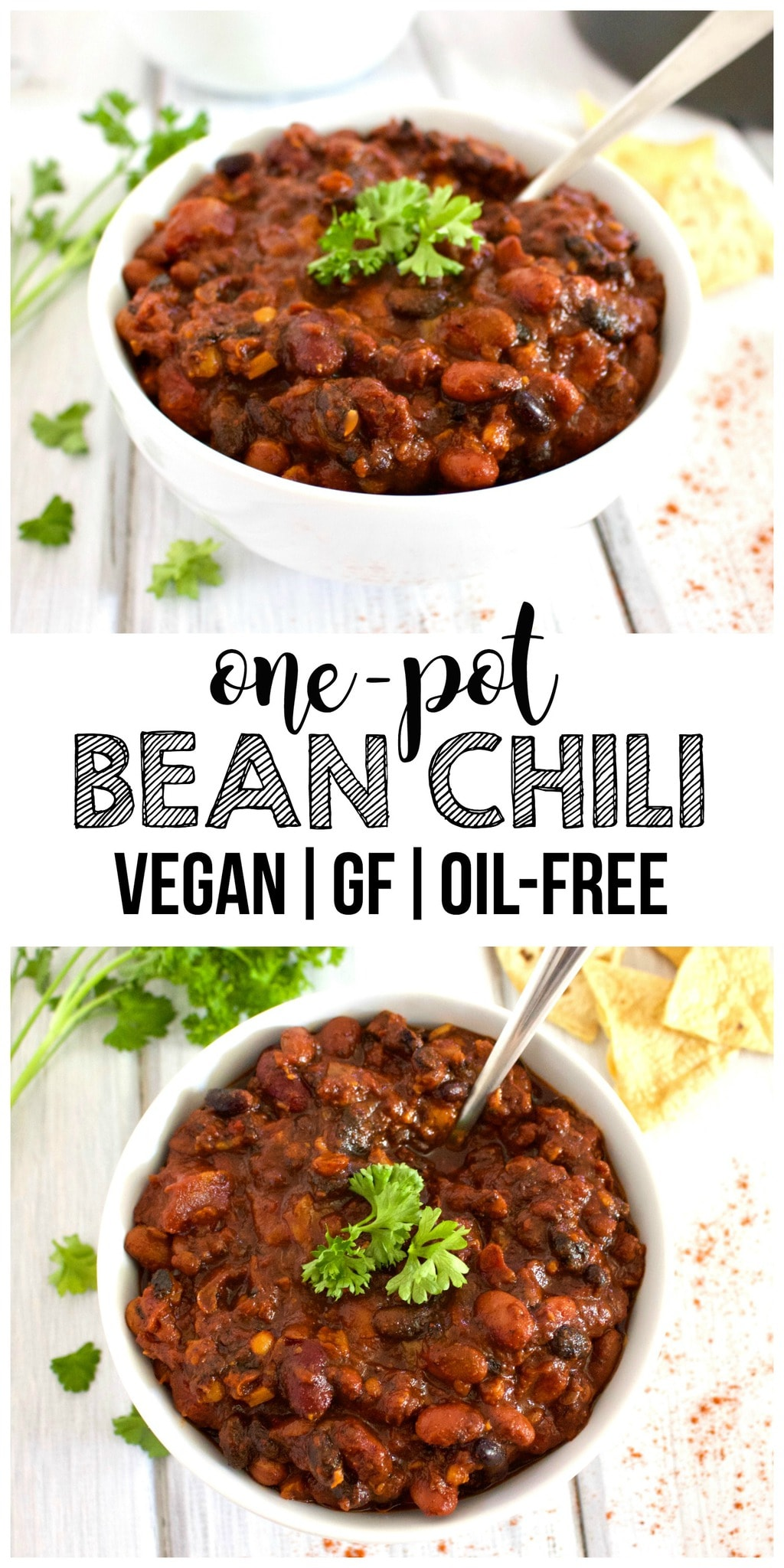 This amazing One-Pot Bean Chili is so delicious! A perfect, easy vegan lunch or dinner. It's also gluten-free & oil-free!