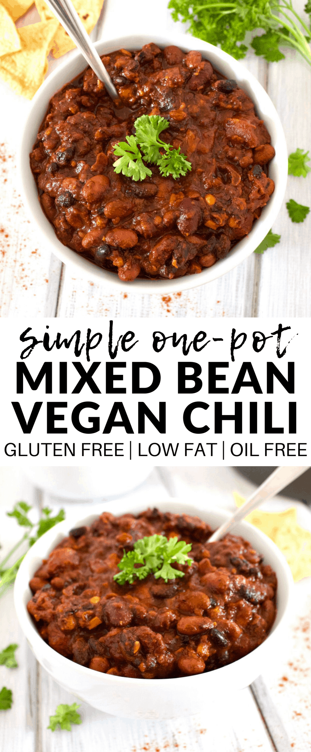 This amazing Vegan One-Pot Bean Chili is so delicious! A perfect, easy vegan lunch or dinner. It's also gluten-free & oil-free!