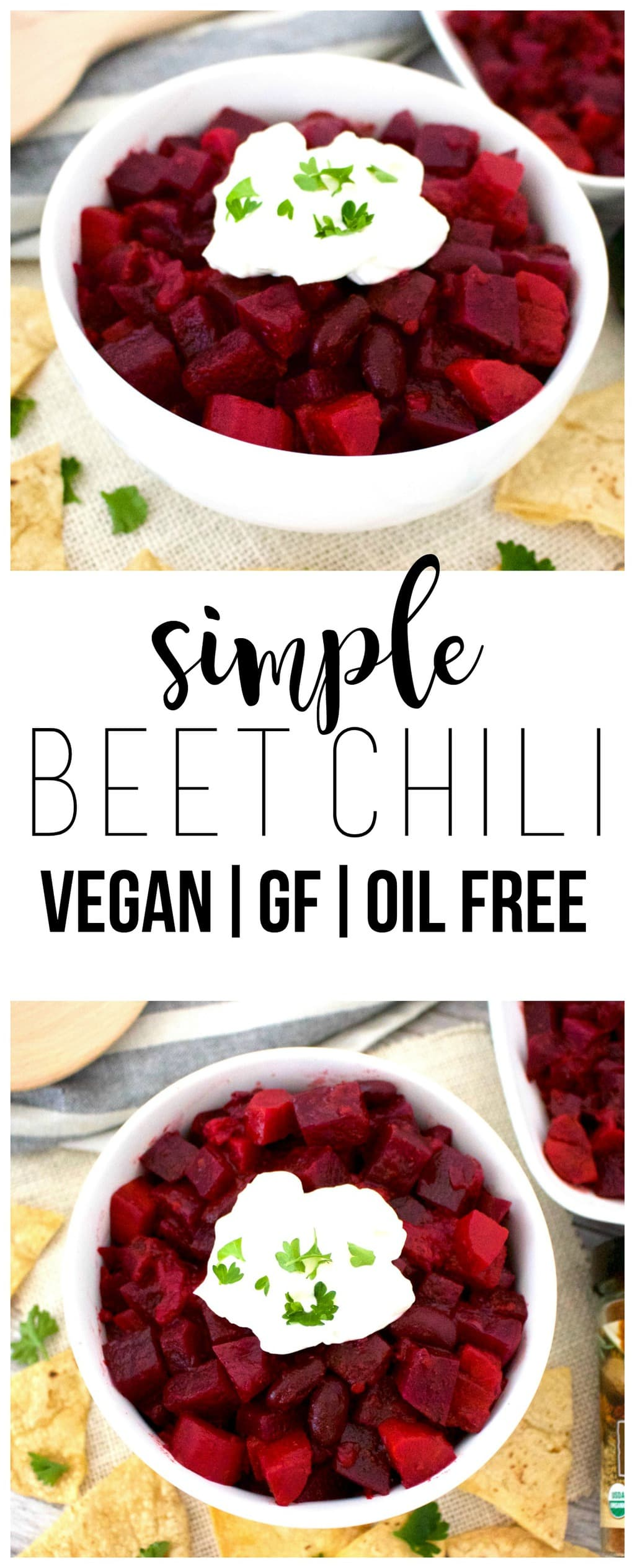 This AMAZING Beet Chlii is totally delicious! The perfect, comforting vegan lunch or dinner. It's also gluten-free, paleo friendly, oil-free & low-fat.