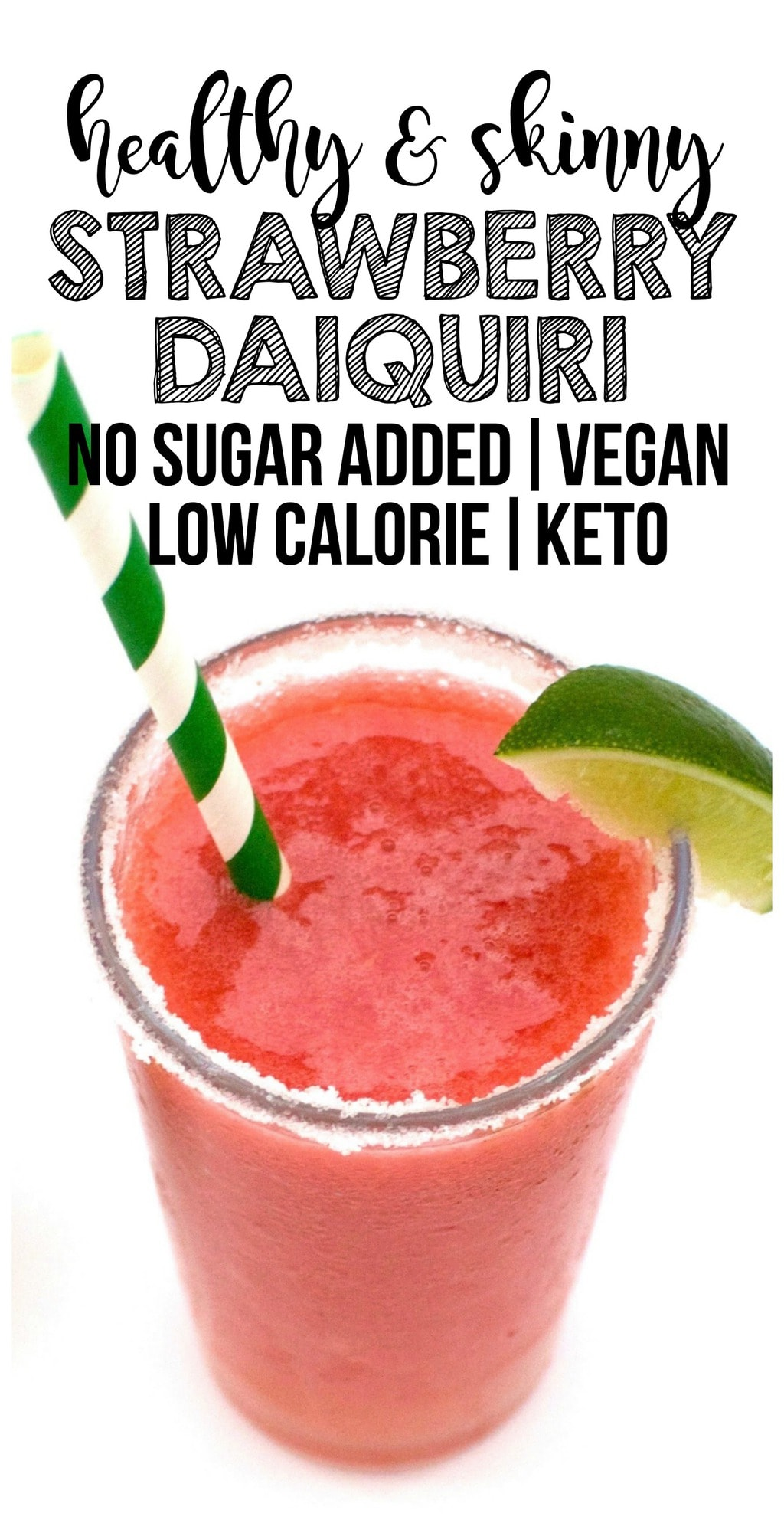 This Keto Strawberry Daiquiri is AMAZING! It's perfectly refreshing and sweet but contains no added sugar. Vegan, low-carb, gluten-free, and low-calorie - the perfect summertime cocktail!