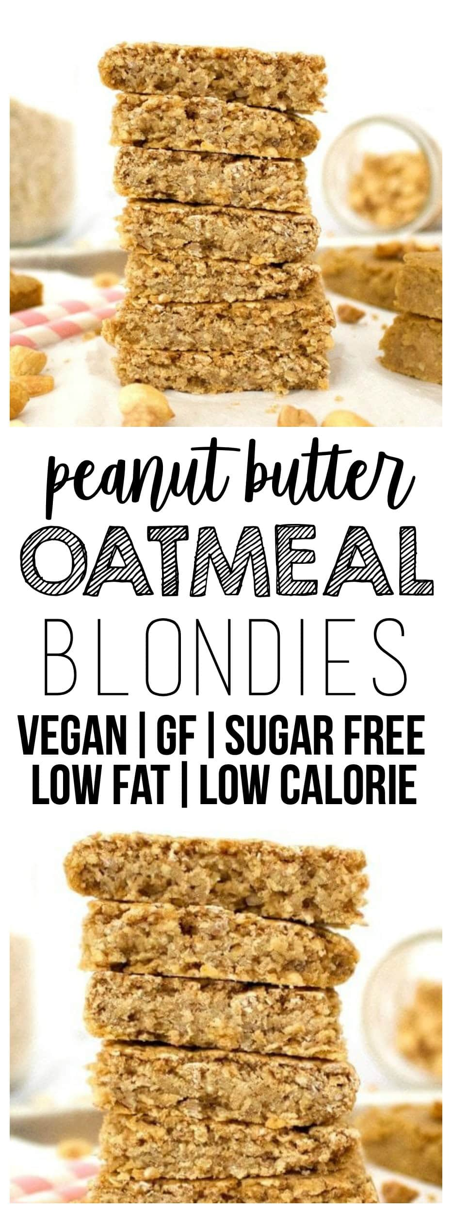 These AMAZING Vegan Peanut Butter Oatmeal Blondies are the perfect breakfast or snack! They are loaded with nutritious ingredients, but taste like an indulgent treat. They're also gluten-free, sugar-free, oil-free, low-fat, low-carb, dairy-free and low-calorie - only 75 calories each!