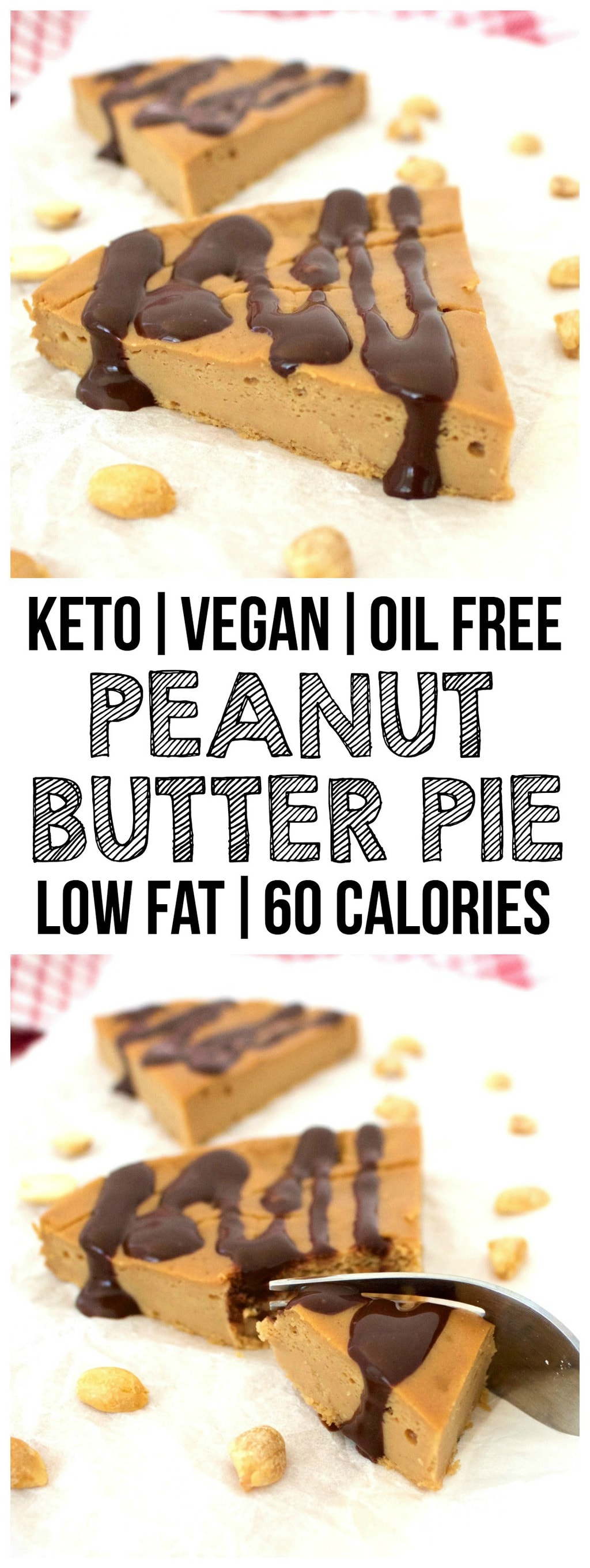 This Vegan Peanut Butter Pie is amazingly delicious! A perfectly rich and creamy texture with heavenly peanut butter flavor. It's also keto, gluten-free, oil-free, low-fat, dairy-free, low-carb, and sugar-free!