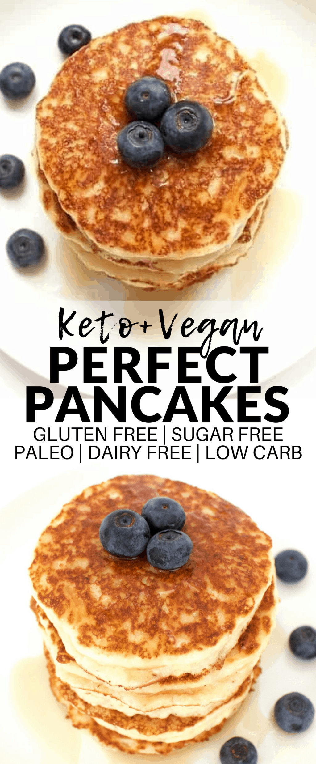 These Perfect Keto Vegan Pancakes are absolutely AMAZING! They're also gluten-free, dairy-free, paleo, and sugar-free. The perfect, healthy & delicious breakfast!